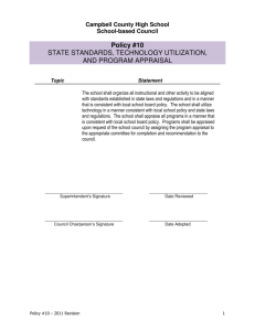 Policy #10 - State Standards, Technology Utilization, and Program