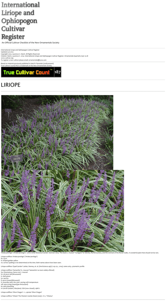 International Liriope And Ophiopogion Cultivar Register