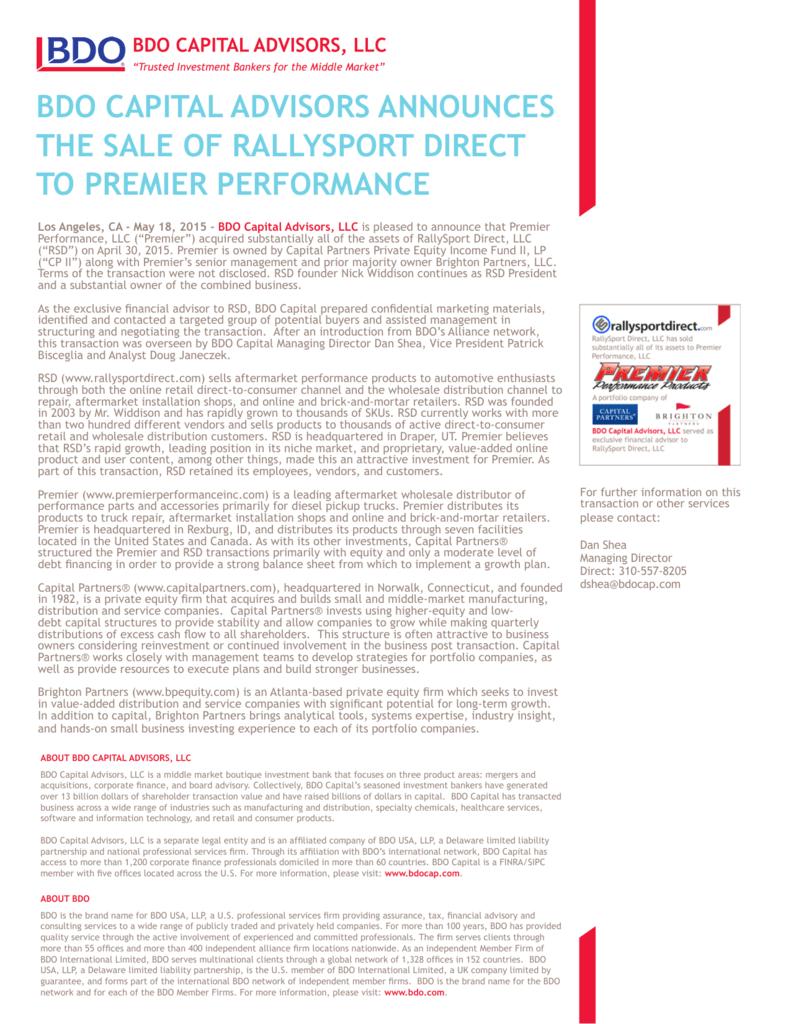 bdo capital advisors announces the sale of rallysport direct to