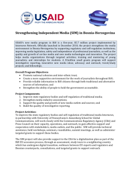 Strengthening Independent Media (SIM) in Bosnia