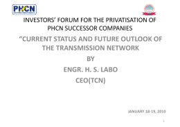 Transmission Company of Nigeria - Nigeria Electricity Privatisation
