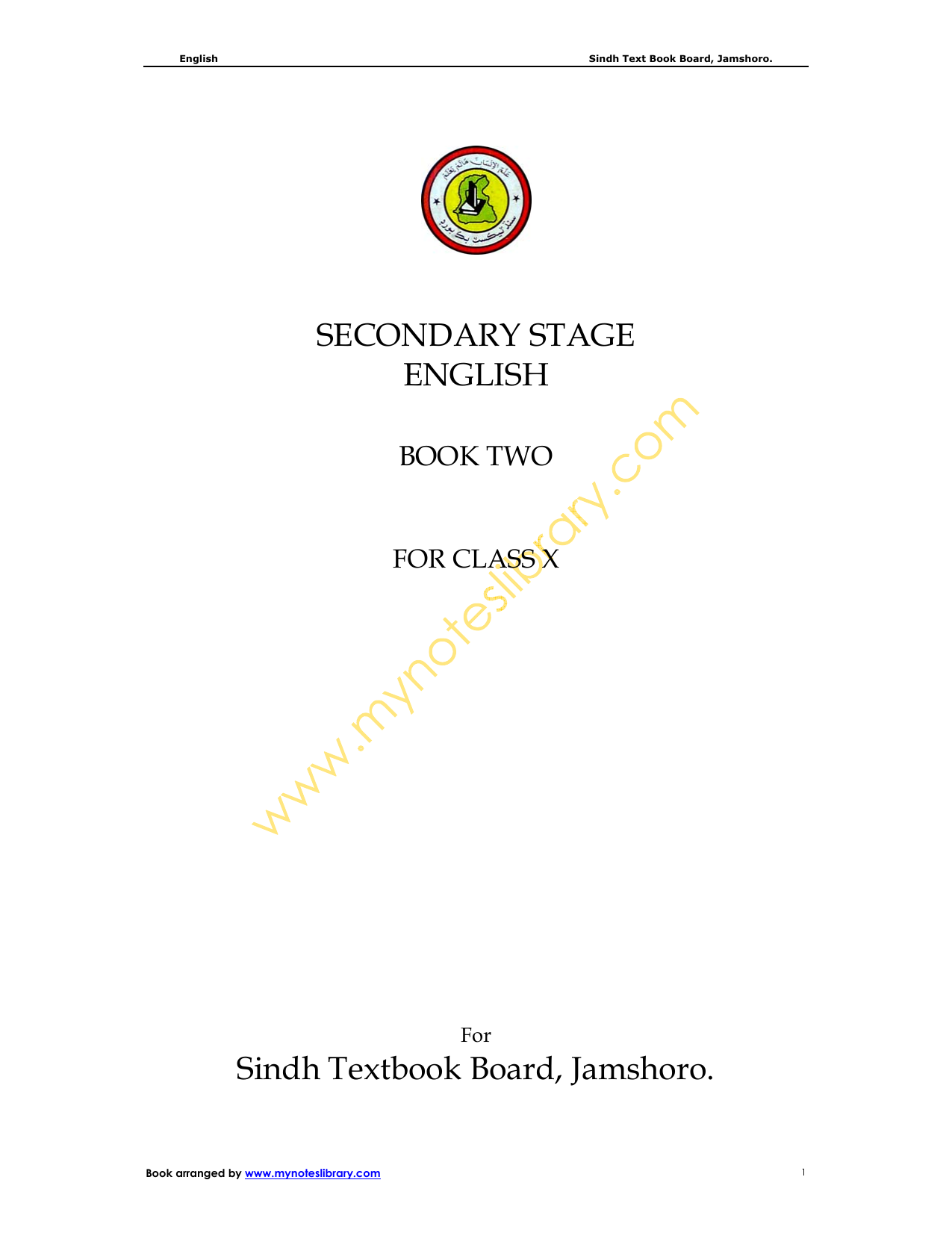 SECONDARY STAGE ENGLISH Sindh Textbook Board, Jamshoro