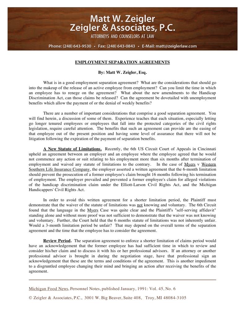 Employment Separation Agreements