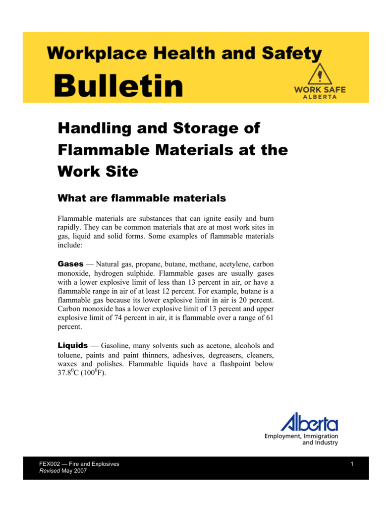 Handling and Storage of Flammable Materials at the Work Site