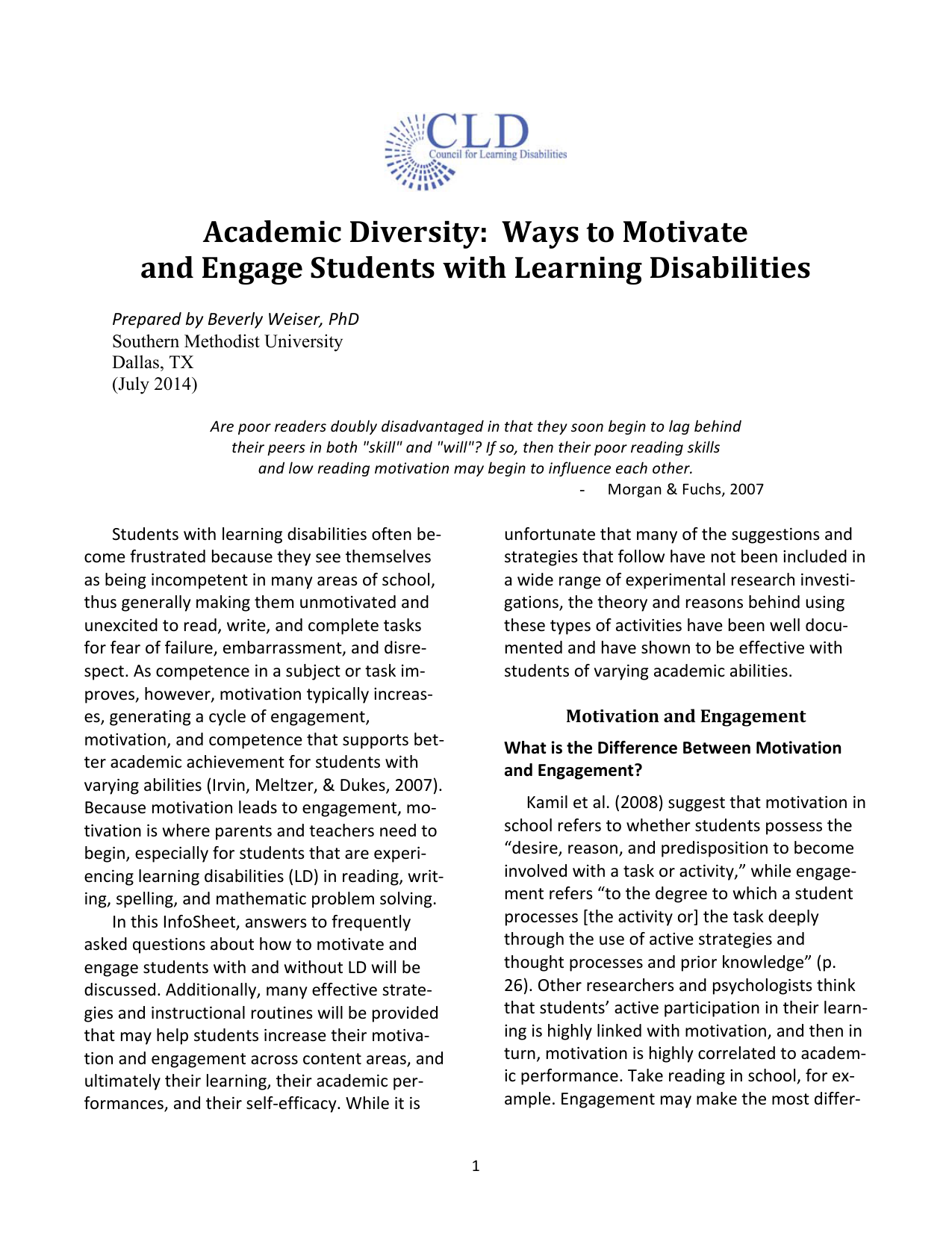 Academic Diversity: Ways to Motivate and Engage Students with