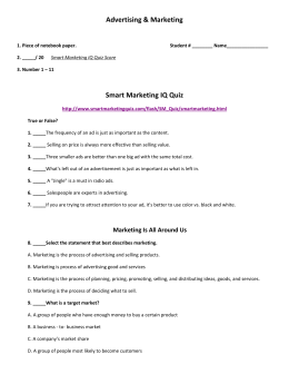 Advertising & Marketing Smart Marketing IQ Quiz