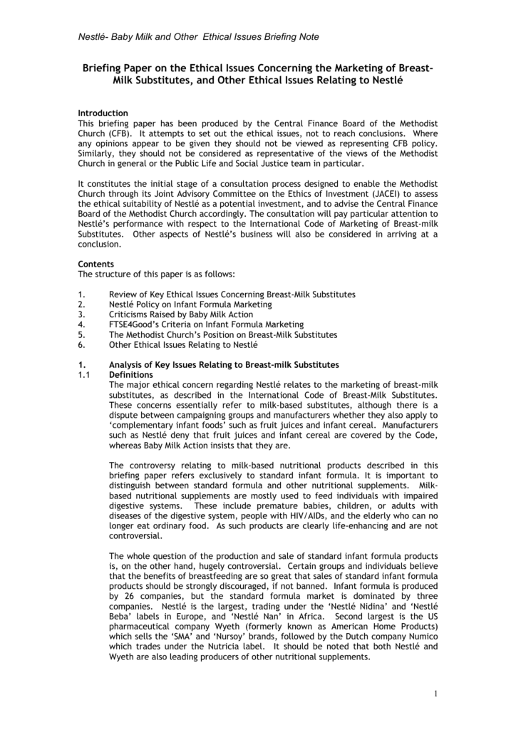 Nestle- Ethical Briefing and Questions
