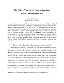The Order of Speeches in Plato's Symposium: A New
