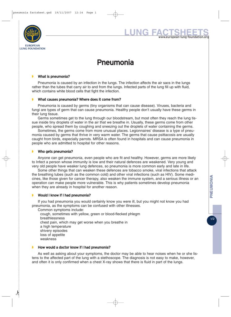 Pneumonia - European Lung Foundation