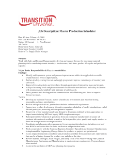 Job Description: Master Production Scheduler