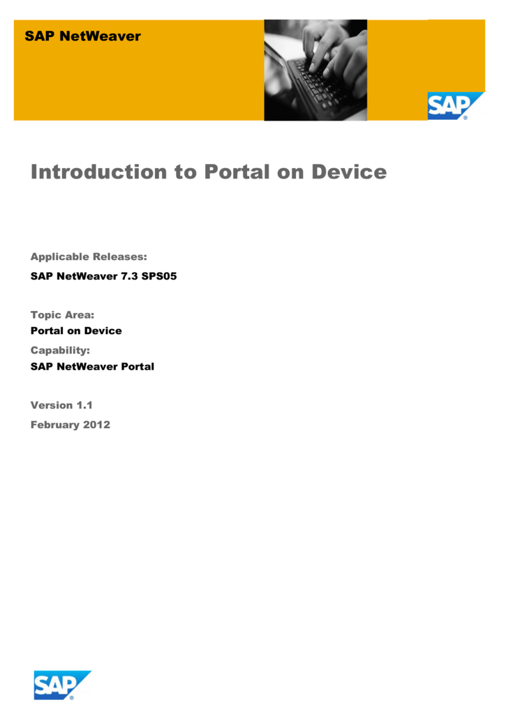 SAP NetWeaver Portal 7 3: Introduction to Portal on Device