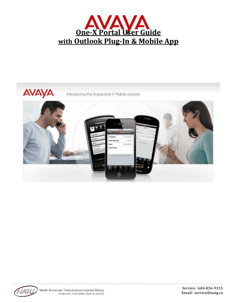 Avaya One X-Portal Quick Reference Guide with Plug in