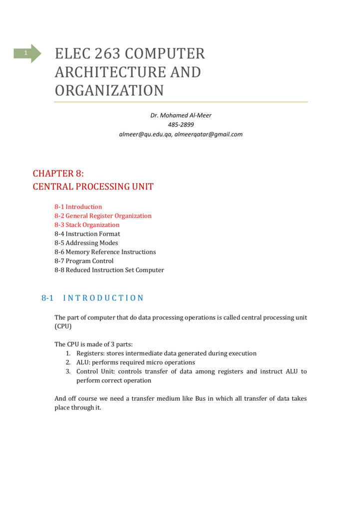 Elec 263 Computer Architecture And Organization