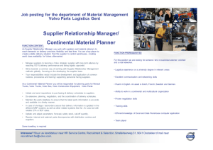 Supplier Relationship Manager/ Continental Material