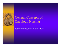 General Concepts of Oncology Nursing