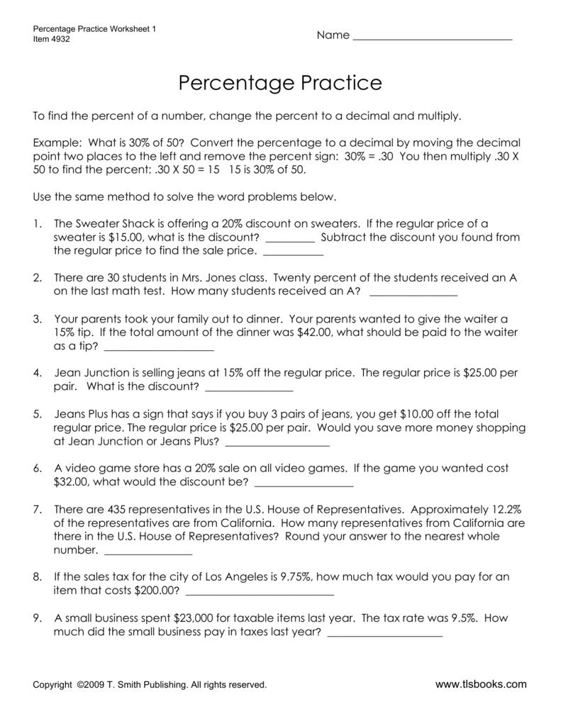 Percent Word Problems Worksheet 1