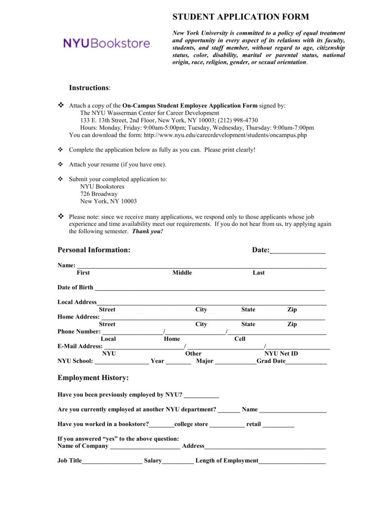 Student Application - NYU Bookstore