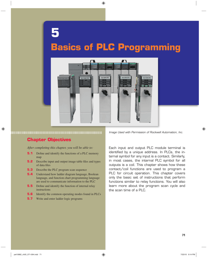 Chapter 5 Basics Of Plc Programming Relay Ladder Logic Control Systems