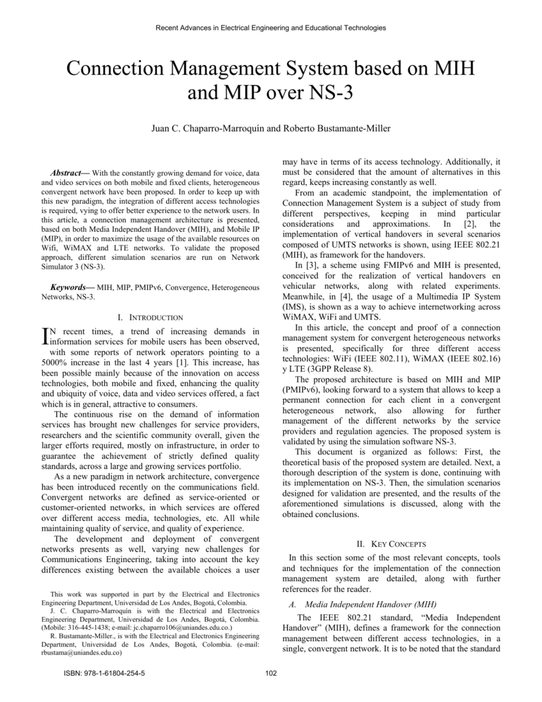 Connection Management System based on MIH and MIP over NS-3