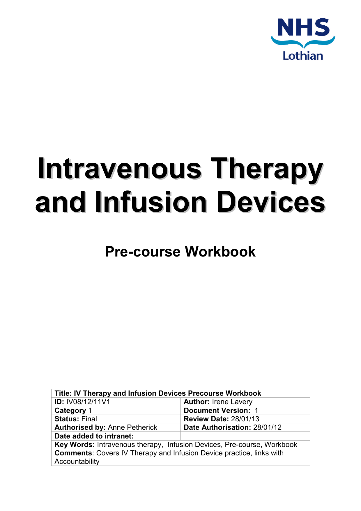 intravenous therapy and infusion devices