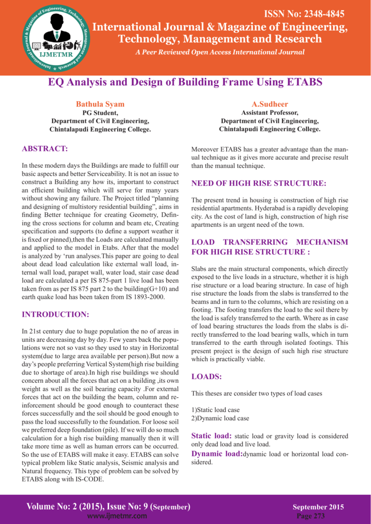 EQ Analysis and Design of Building Frame Using ETABS