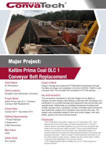 Major Project: Kaltim Prima Coal OLC 1 Conveyor Belt