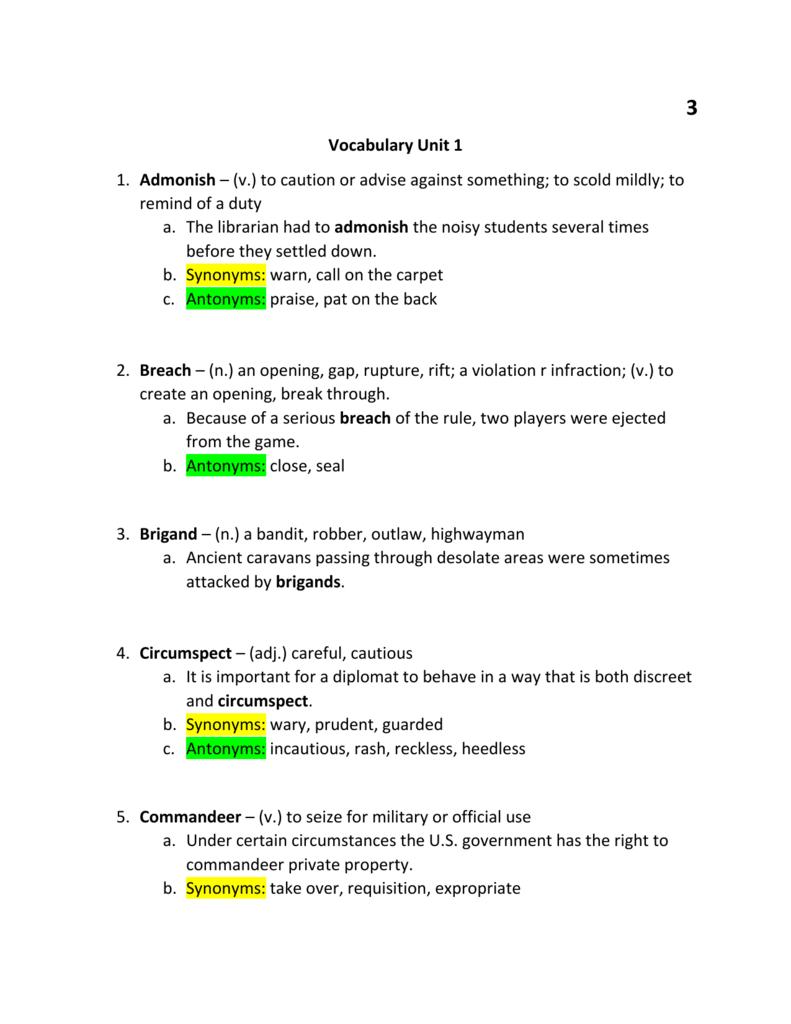 Vocabulary Unit 1 1  Admonish – (v ) to caution or advise against