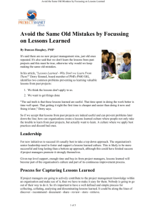 Avoid the Same Old Mistakes by Focussing on Lessons Learned