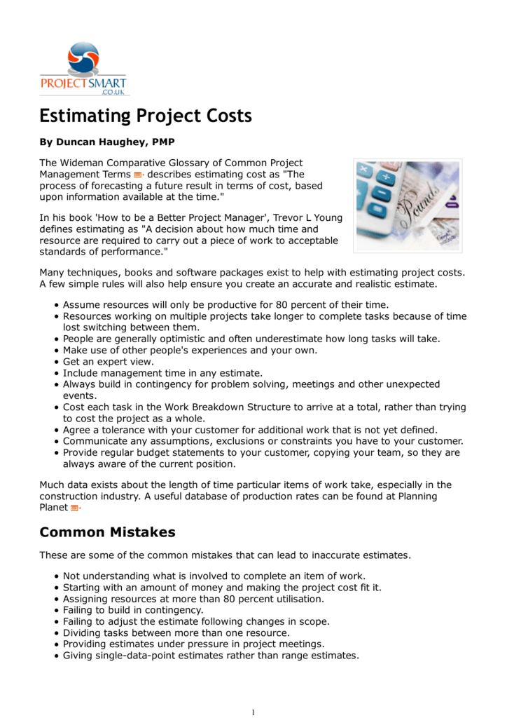 Estimating Project Costs and Monte Carlo Simulation in MS Excel