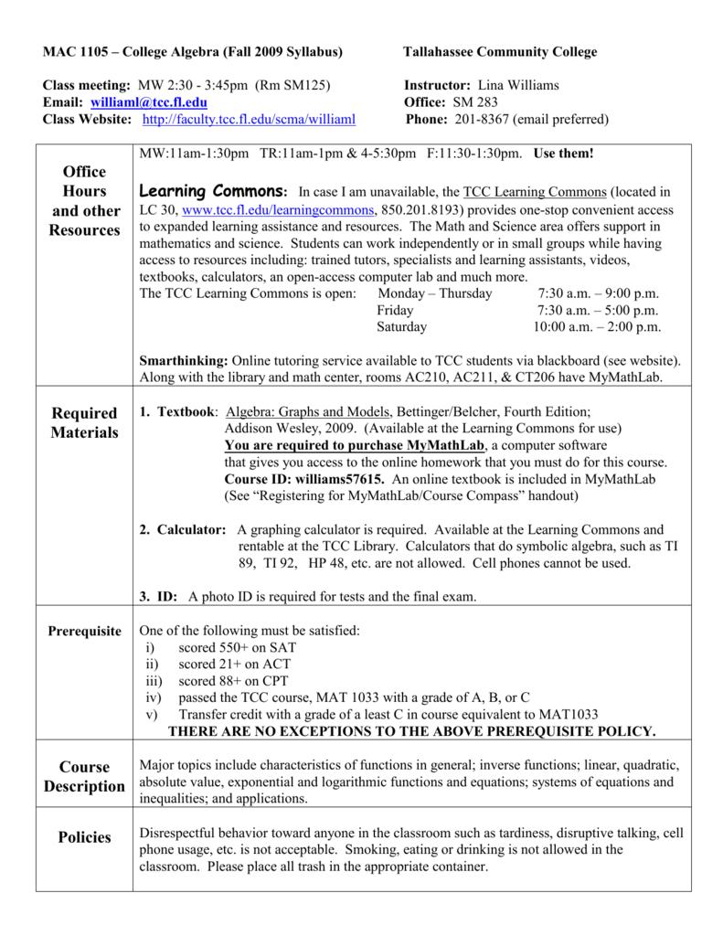 Mac 1102 Bl7 College Algebra
