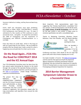 FCIA eNewsletter – October
