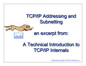 TCP/IP Addressing and Subnetting an excerpt from