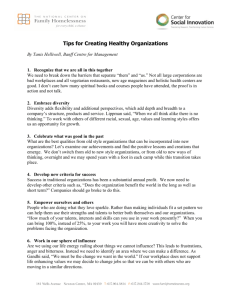 Tips for Creating Healthy Organizations