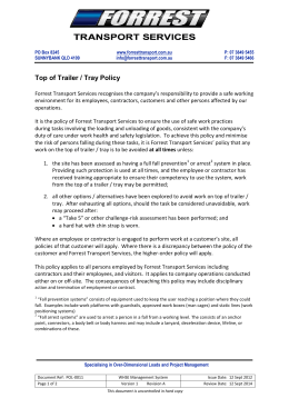 POL-0011 Top of Trailer Tray Policy