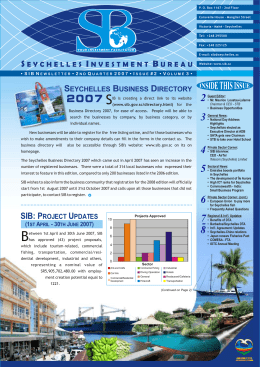 (June 2007). - Seychelles Investment Board