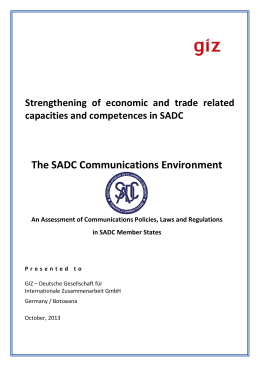 The SADC Communications Environment