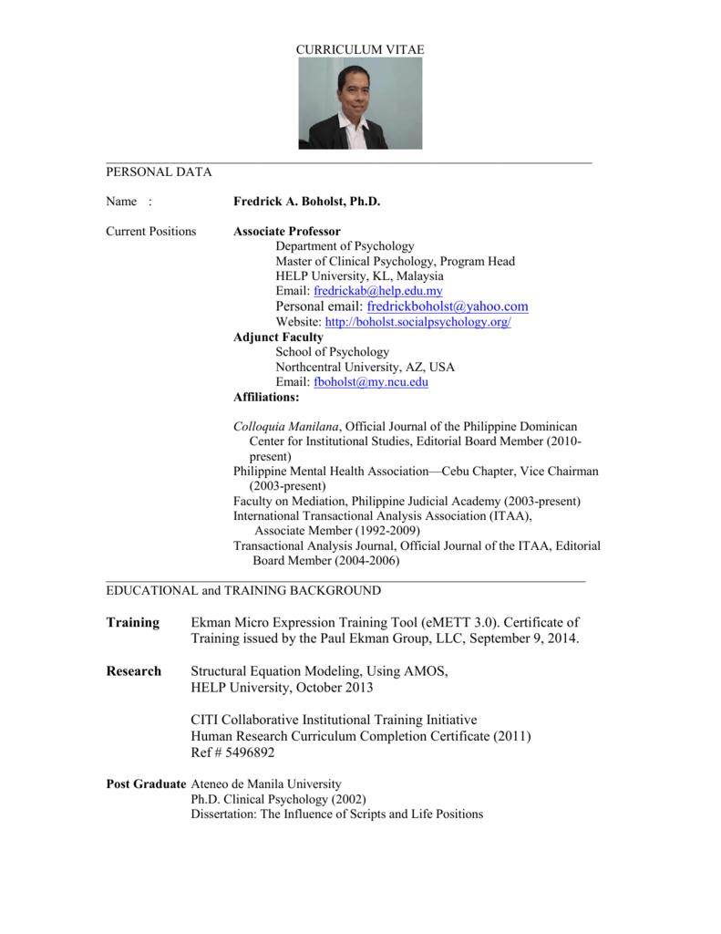 curriculum vitae - Fredrick A. Boholst