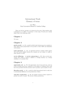 International Trade Glossary of terms