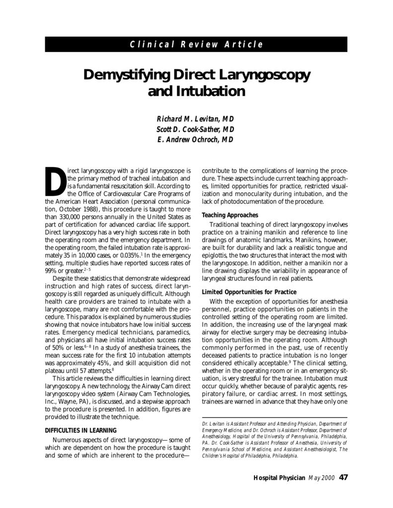 Demystifying Direct Laryngoscopy and Intubation