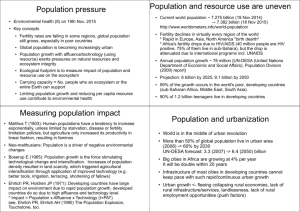 Population pressure Population and resource use are uneven