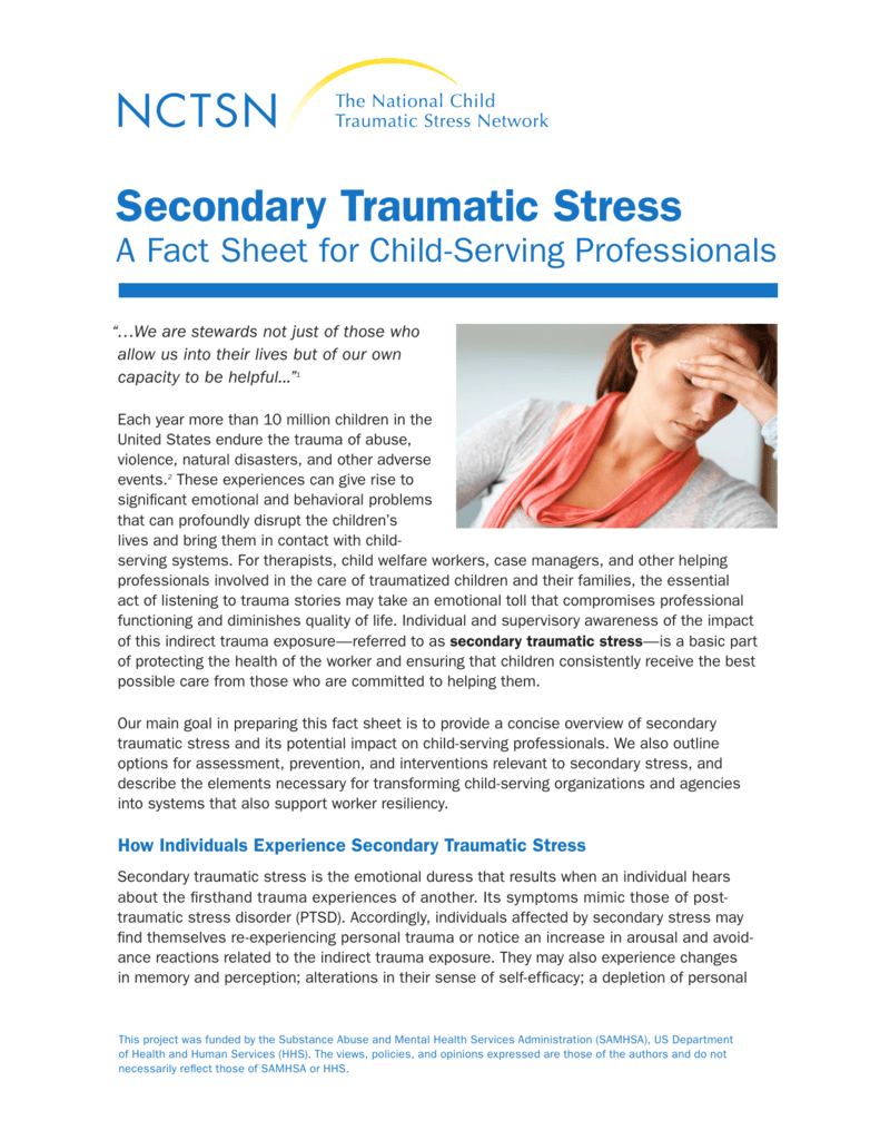 Secondary Traumatic Stress For >> Secondary Traumatic Stress National Child Traumatic Stress Network