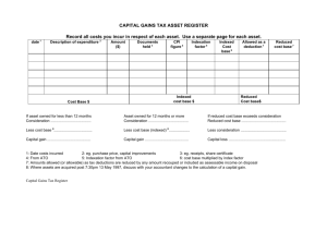 CAPITAL GAINS TAX ASSET REGISTER Record all costs you incur