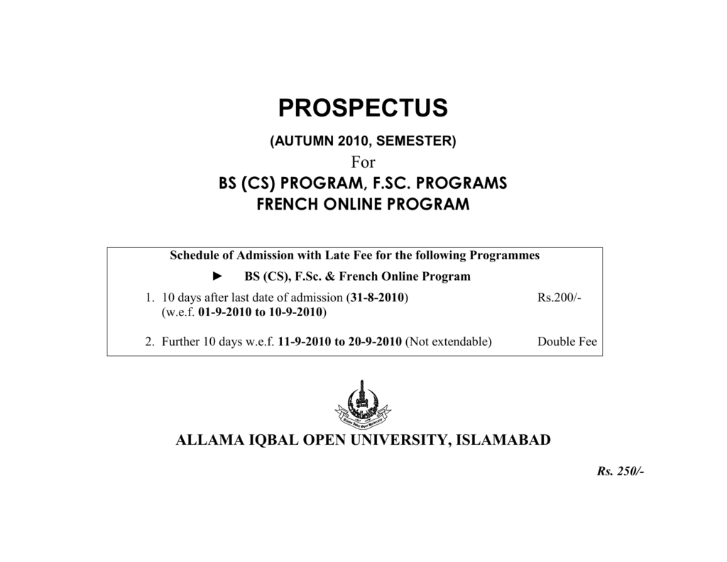 prospectus - Allama Iqbal Open University,Islamabad Regional