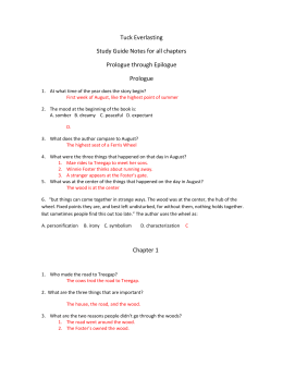 Tuck Everlasting Study Guide Notes for all chapters Prologue