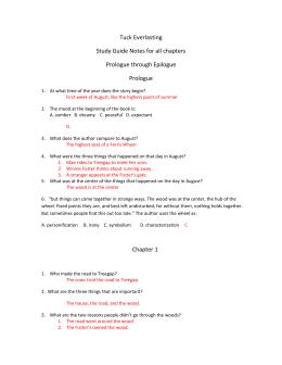 tuck everlasting questions chapters 1 8 burns bulletin rh studylib net tuck everlasting study guide and questions tuck everlasting study guide and questions