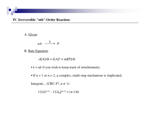 "IV. Irreversible ""nth""-Order Reaction: A. Given: B. Rate Equation:"