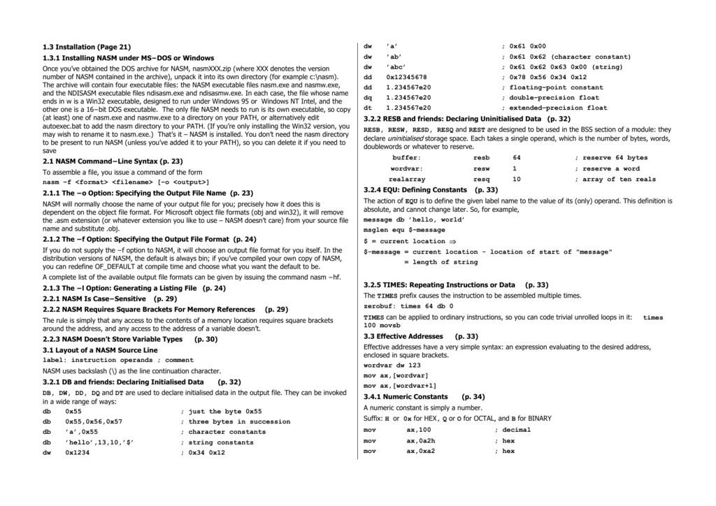 1 3 Installation (Page 21) 1 3 1 Installing NASM under MS