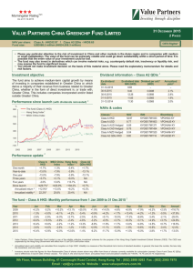 Value Partners China Greenchip Fund (Class A)