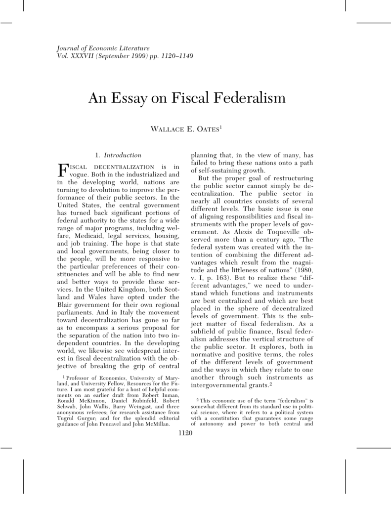 an essay on fiscal federalism oates 1999