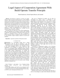 Legal Aspect of Cooperation Agreement With Build Operate Transfer